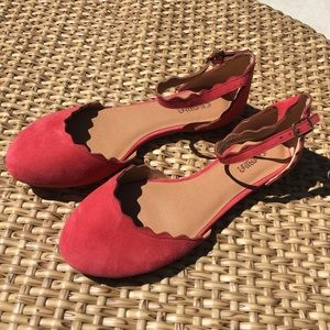 New Vintage Crown Pink Suede Flats Ankle Strap